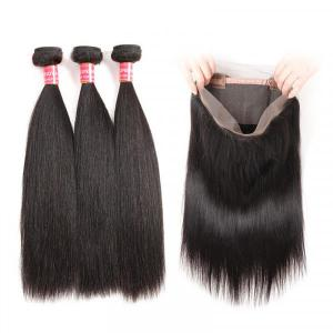 Malaysian Straight Human Hair Weave With 360 Lace Frontal