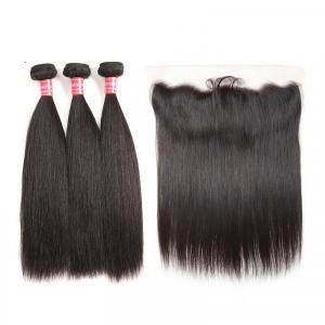 Malaysian Straight Virgin Human Hair Bundles With Lace Frontal Closure