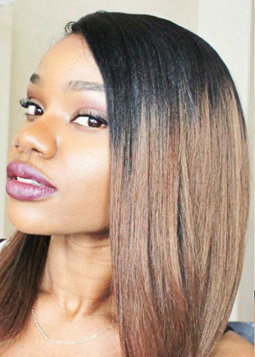Indian Remy Hair Ombre Brown Side Part Bob Yaki Straight Glueless Lace Part Lace WigsIndian Remy Hair Ombre Brown Side Part Bob Yaki Straight Glueless Lace Part Lace Wigs