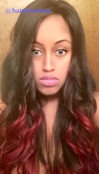 180% density Black Hair With Red Highlights