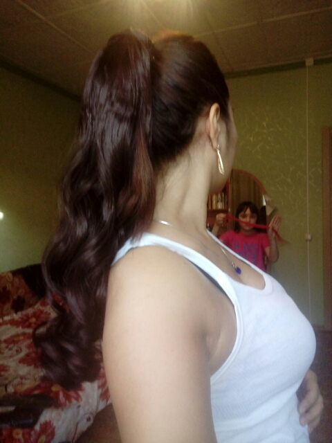 22 Inch Claw Clip Human Hair Ponytail Curly Glossy #2 Dark Brown