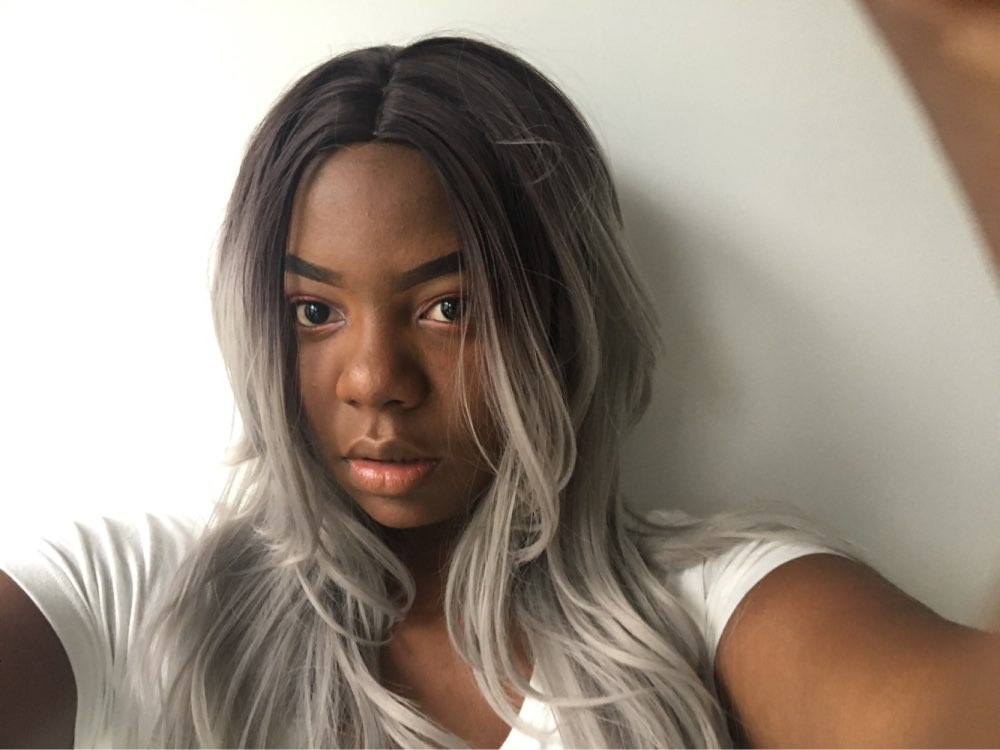 Handmade Dark Roots Silver Grey Body Wave Lace Front Wig 01
