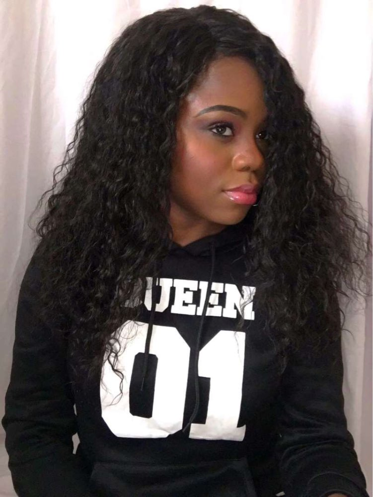 14 Inch Loose Curl Chinese Virgin Hair Glueless Lace Front Wigs 02
