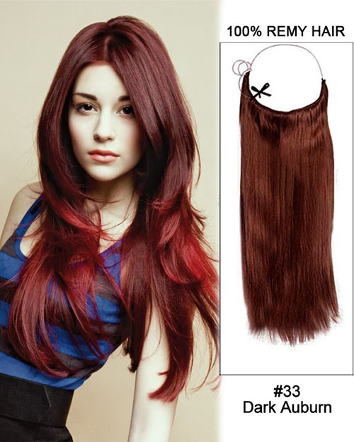 14 - 32 Inch Straight Secret Human Hair Extensions #33 Dark Auburn