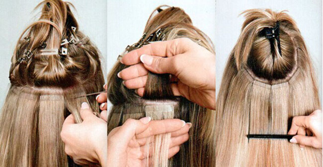 How to install the tape in hair extensions