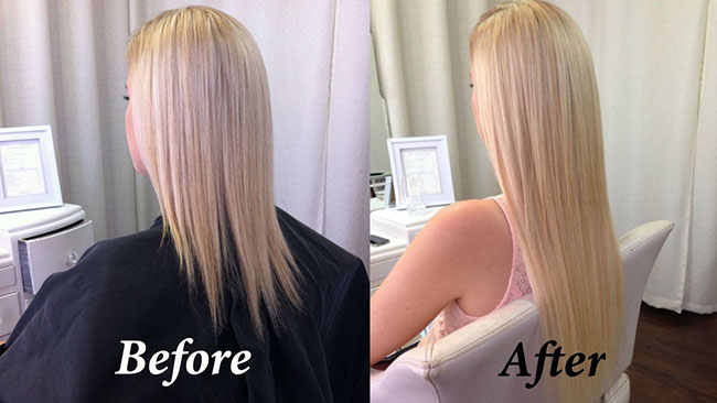 Using the tape in hair extensions before and after