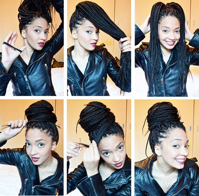 Box Braid Bun Hairstyles
