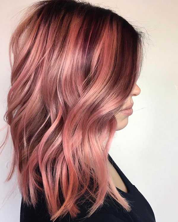 Dark Roots Balayage Pink Hair