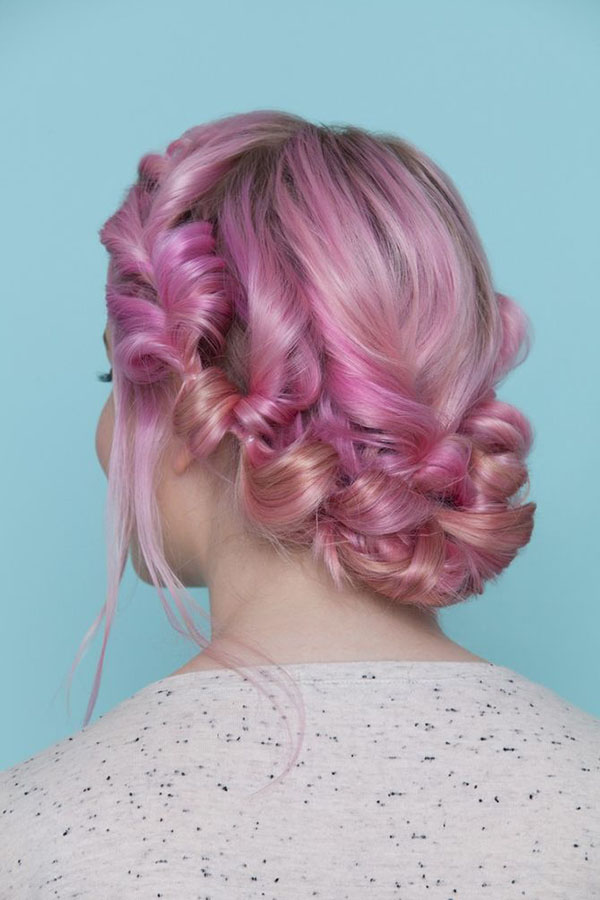 Pink Milkmaid Braid Hairstyle