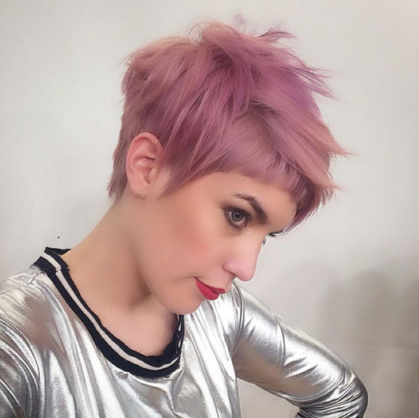 Pink Pixie Cut with Shaggy Full Fringe