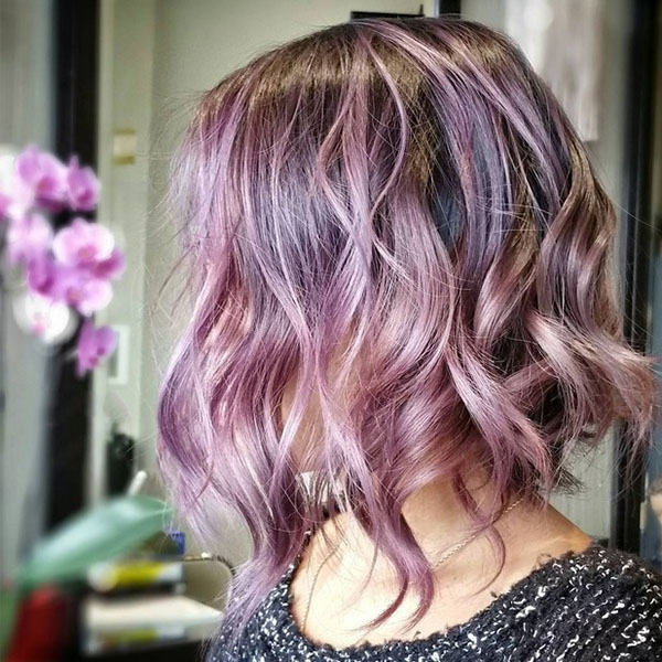 Pink And Purple Messy Wavy Hair