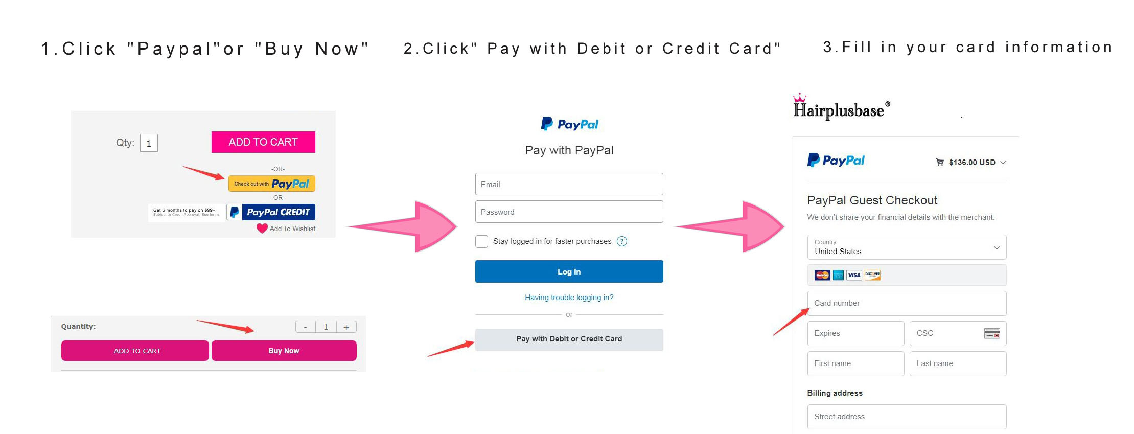 How to send payment via debit or credit card