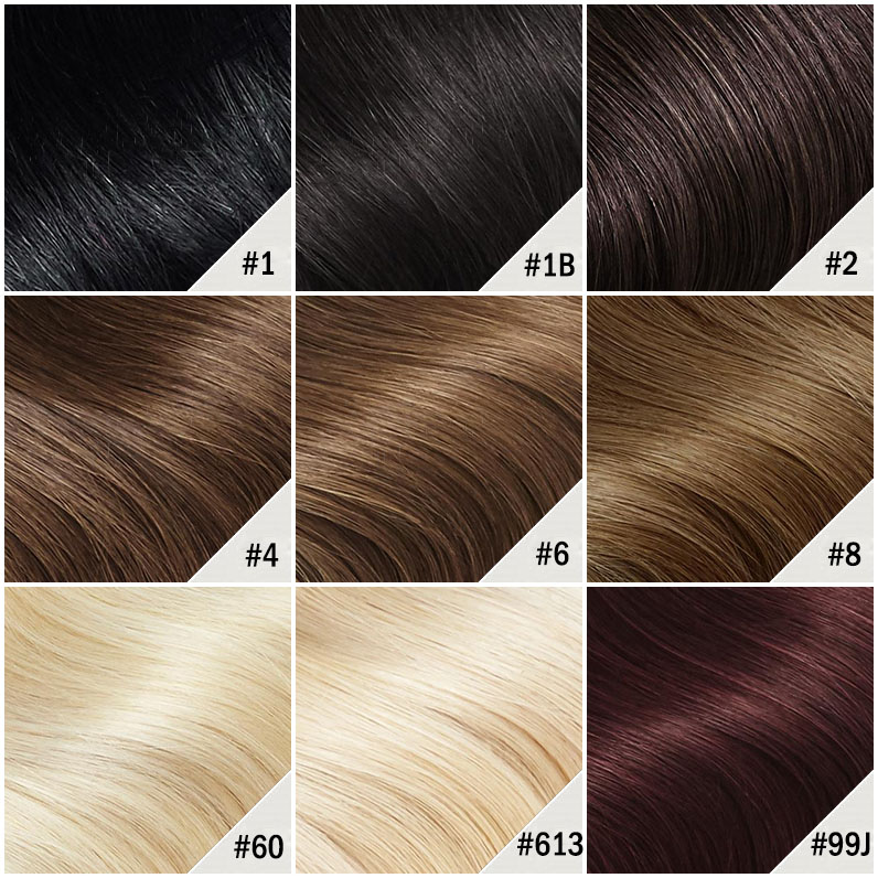 14 Inch Drawstring Human Hair Ponytail Lustrous Straight #1 Jet Black Color Chart