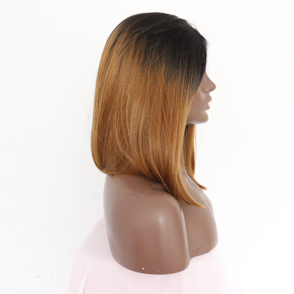 Medium Bob Straight Dark Roots Brown Lace Front Wig