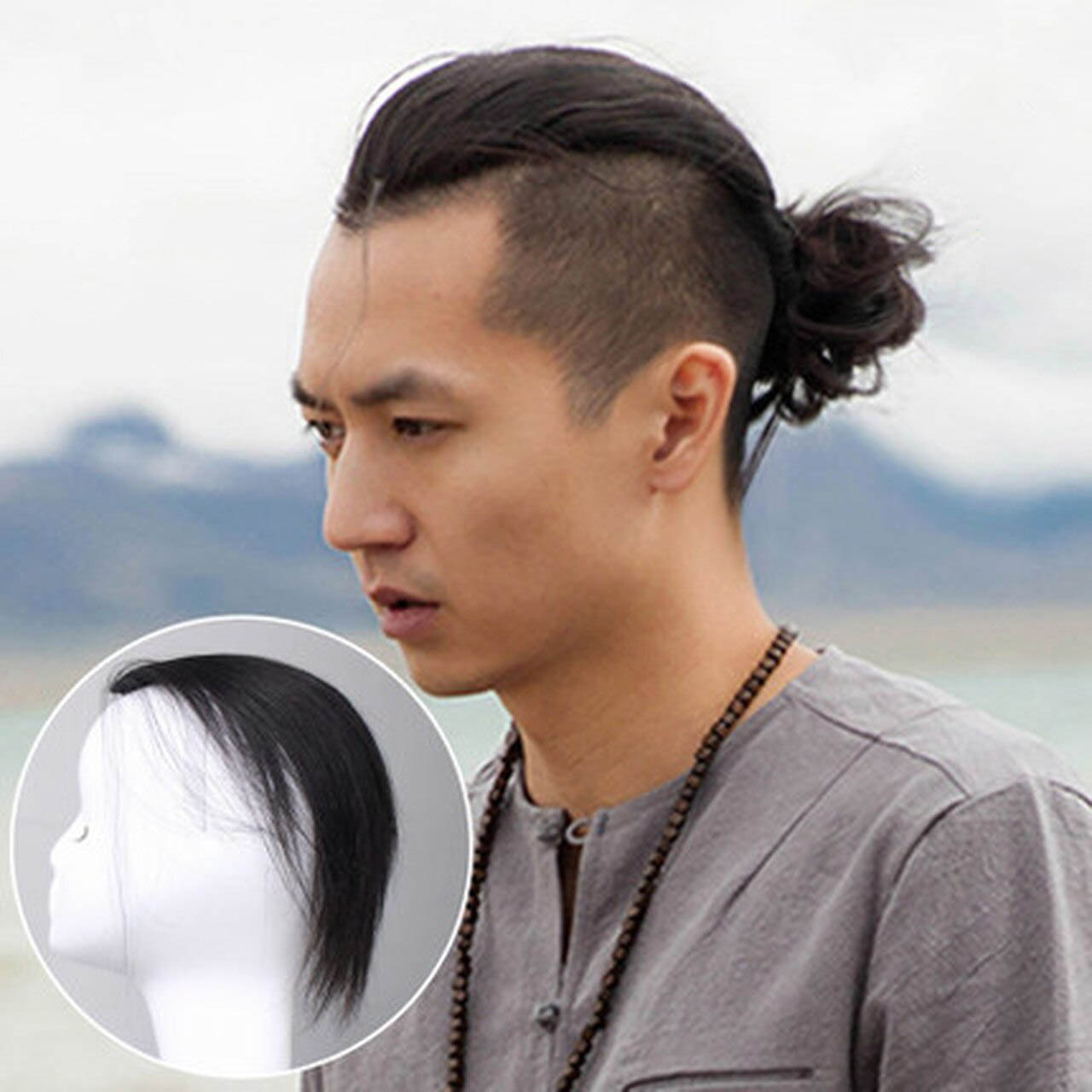 Men Slicked Back Hairpiece Invisible Human Hair Mat For Increasing Hair Volume