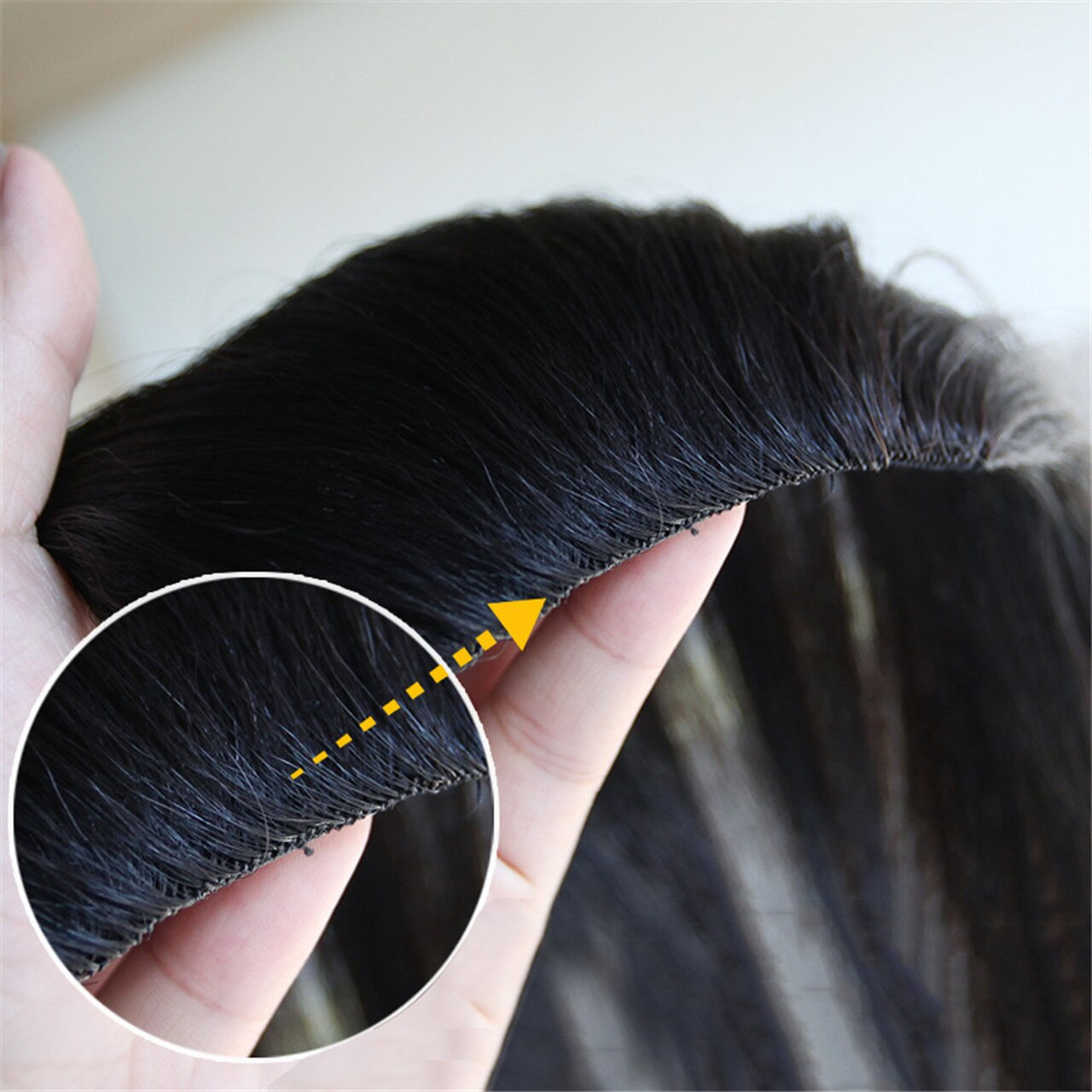 Men Slicked Back Hairpiece Invisible Human Hair Mat For Increasing Hair Volume 3