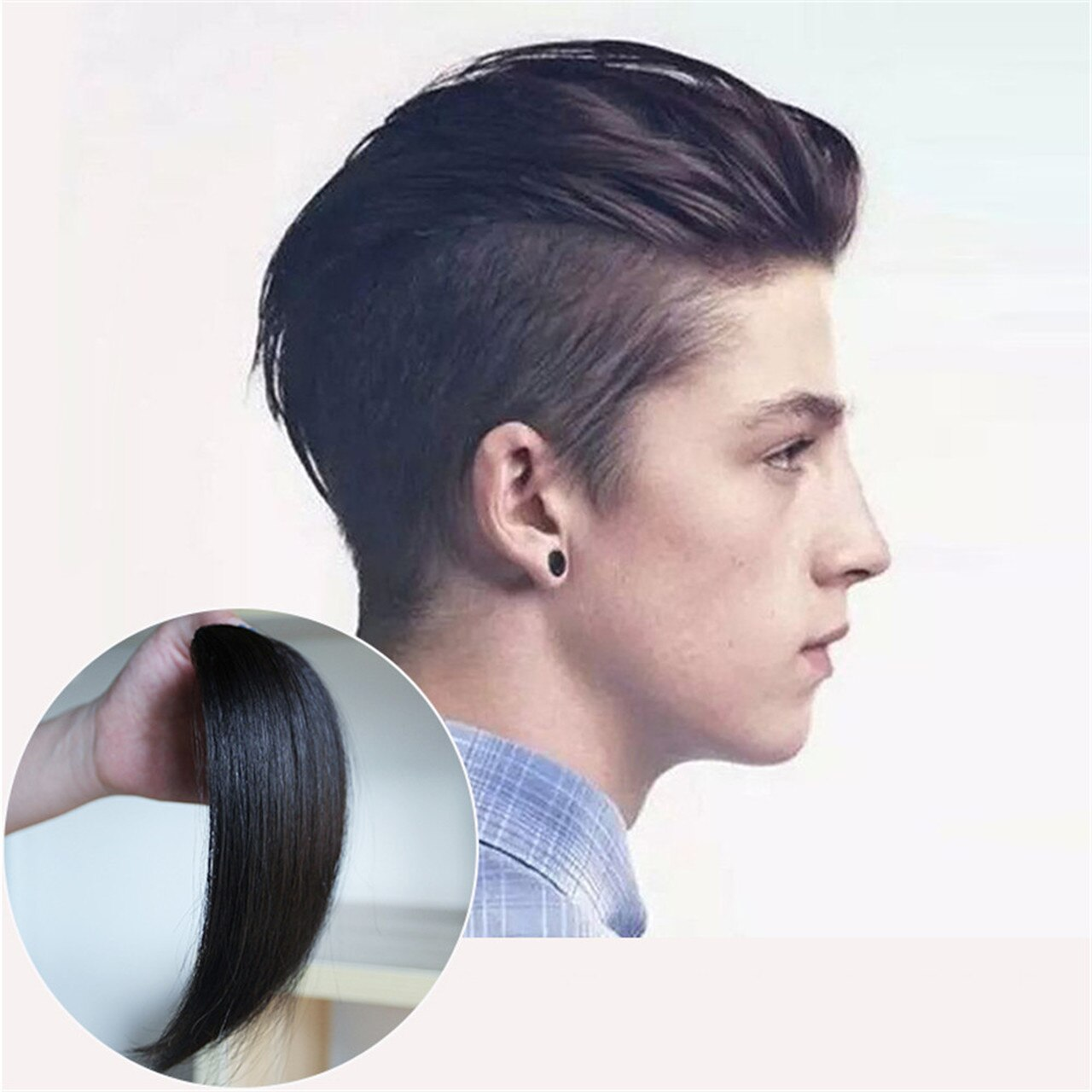 Men Slicked Back Hairpiece Invisible Human Hair Mat For Increasing Hair Volume 5