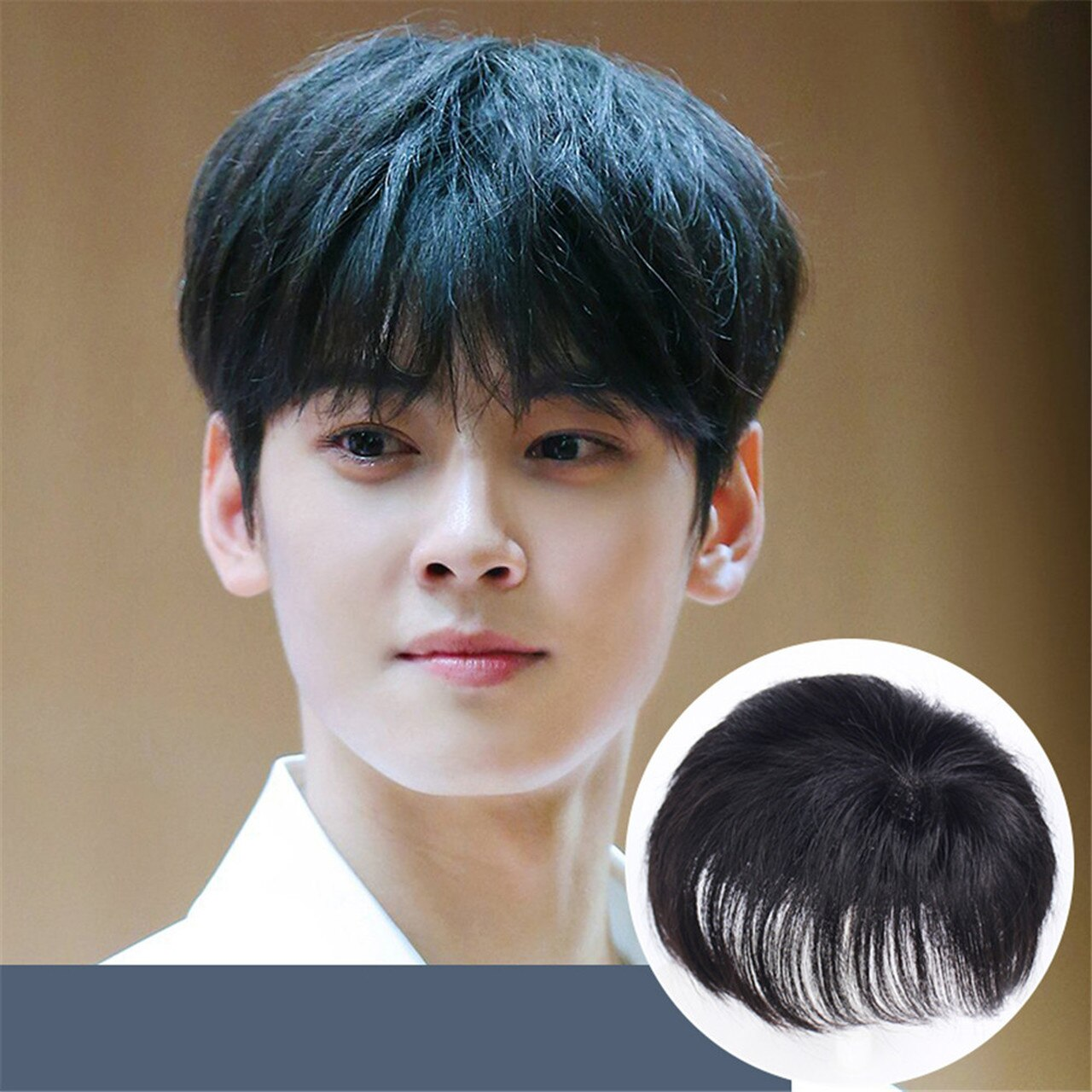 Mens Handsome Straight 100% Human Hair Replacement System Toupee Hairpieces