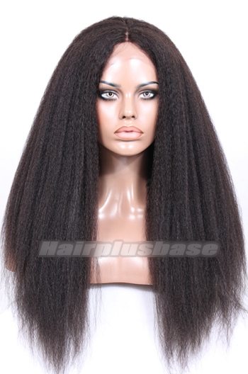 Kinky Straight Natural Looking Indian Remy Hair Middle Part Glueless Lace Part Lace Wigs