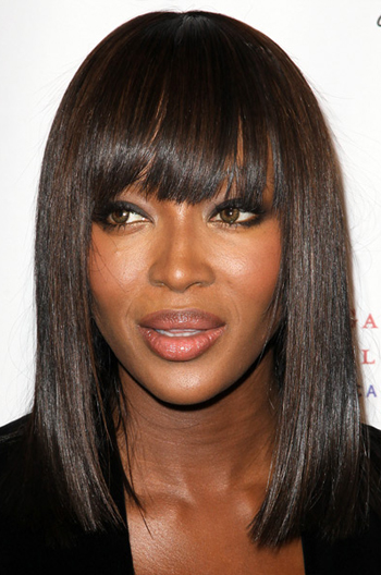 Naomi Campbell Inspired Shoulder Length Bob With Bangs Virgin Human Hair Lace Wigs