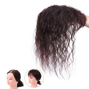 Natural Curly Human Hair Topper with Bangs for Women, Top Wiglet Hairpiece Clip on