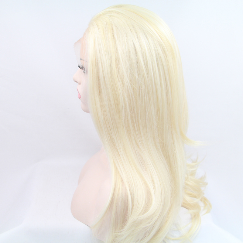 Natural Look Blonde Silky Nature Wave Synthetic Lace Front Wig 1