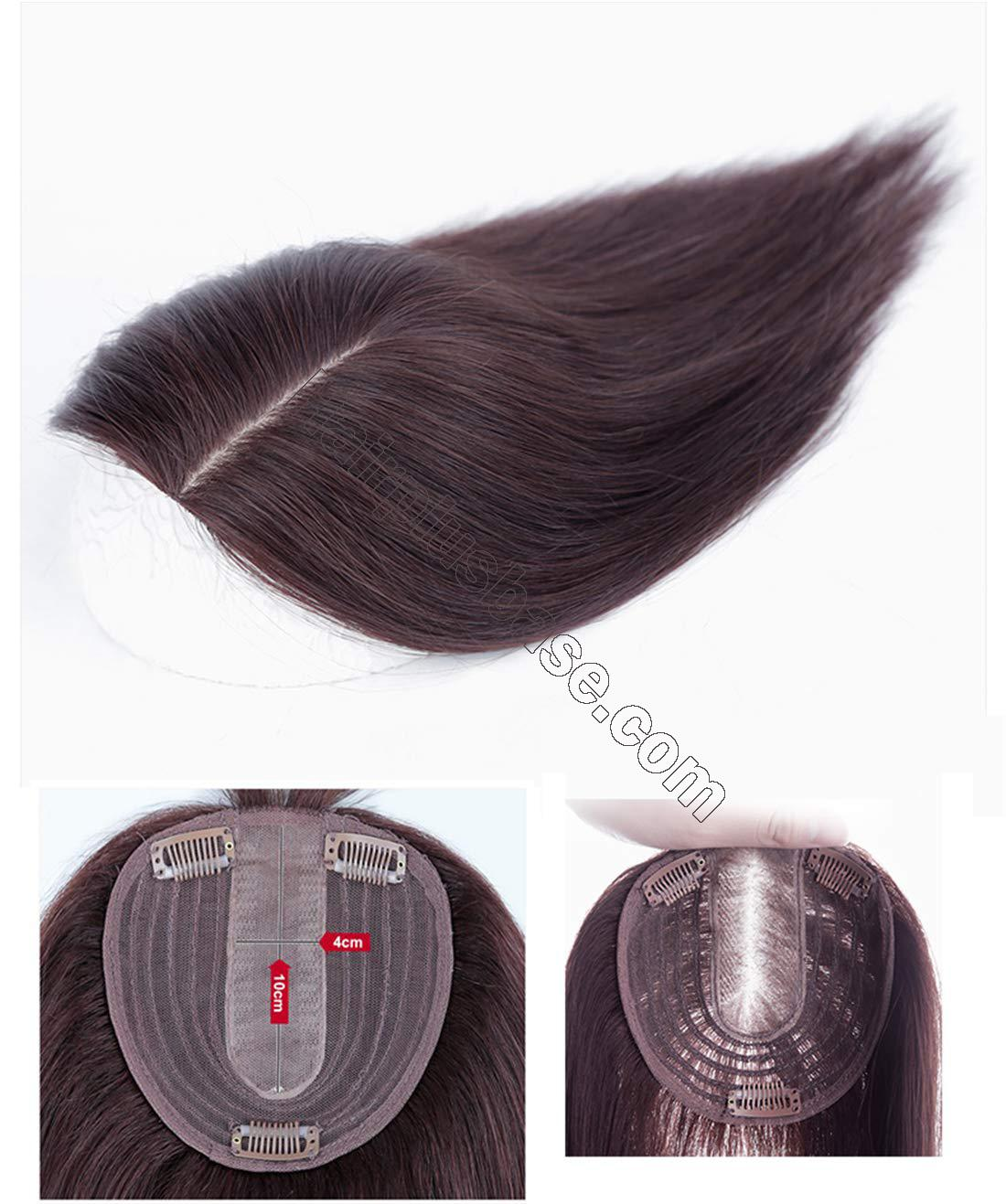 Natural Silk Base Parting Human Hair Toppers for Women with Grey and Thinning Hair, 5 Inch x 5.5 Inch Crown Topper, Left Part 12.6 Inch 5