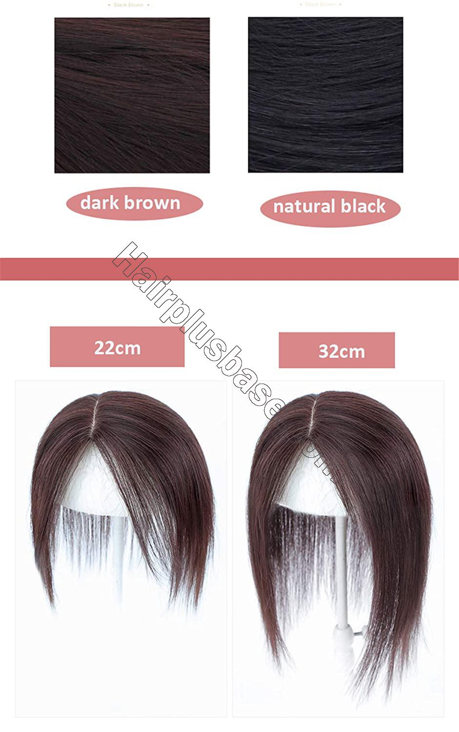 Natural Silk Base Parting Human Hair Toppers for Women with Grey and Thinning Hair, 5 Inch x 5.5 Inch Crown Topper, Left Part 12.6 Inch 6