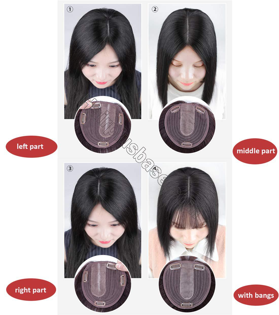 Natural Silk Base Parting Human Hair Toppers for Women with Grey and Thinning Hair, 5 Inch x 5.5 Inch Crown Topper, Left Part 12.6 Inch 7