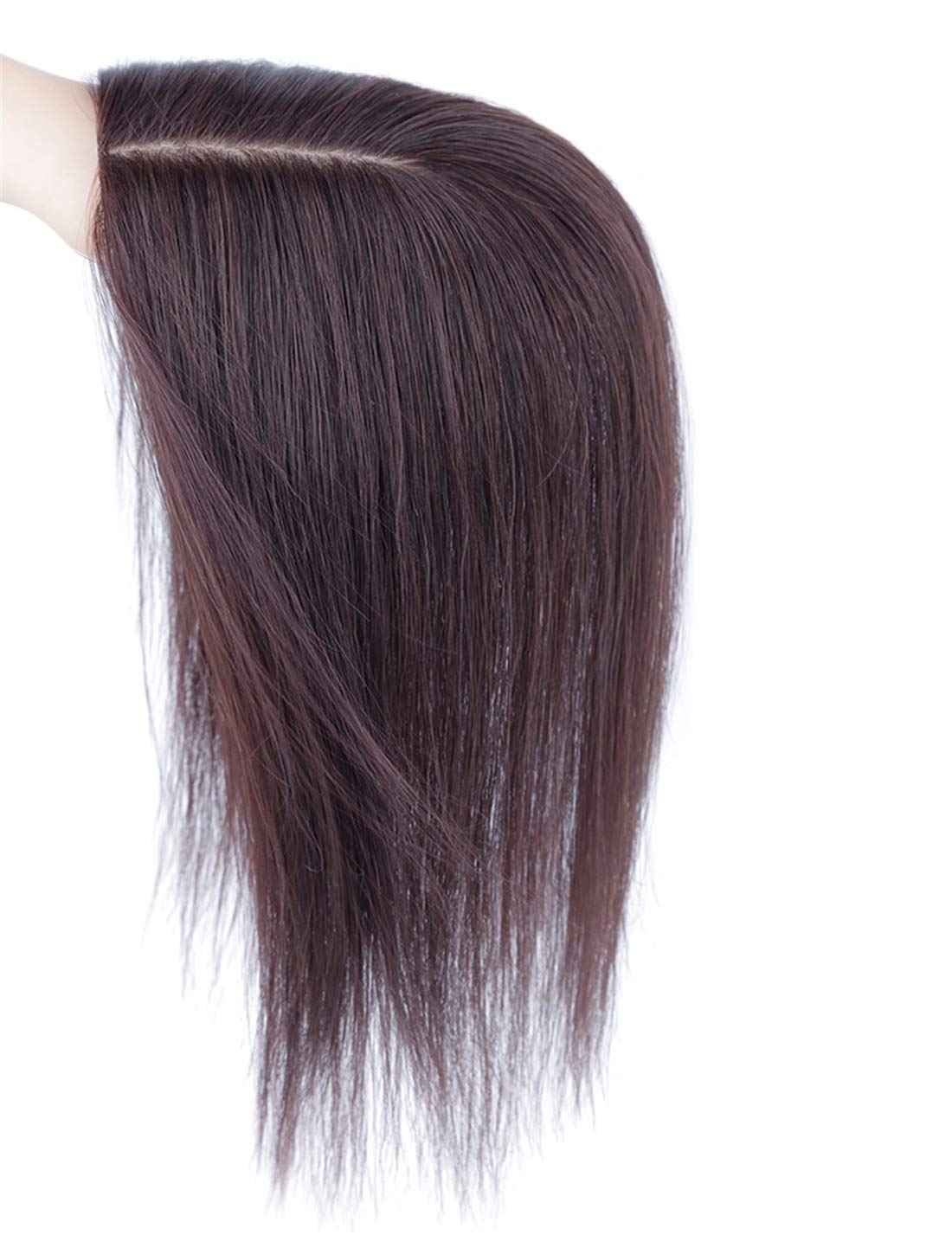 "Natural Silk Base Parting Human Hair Toppers for Women with Grey and Thinning Hair, 5"" x 5.5"" Crown Topper, Left Part 12.6"" 9"
