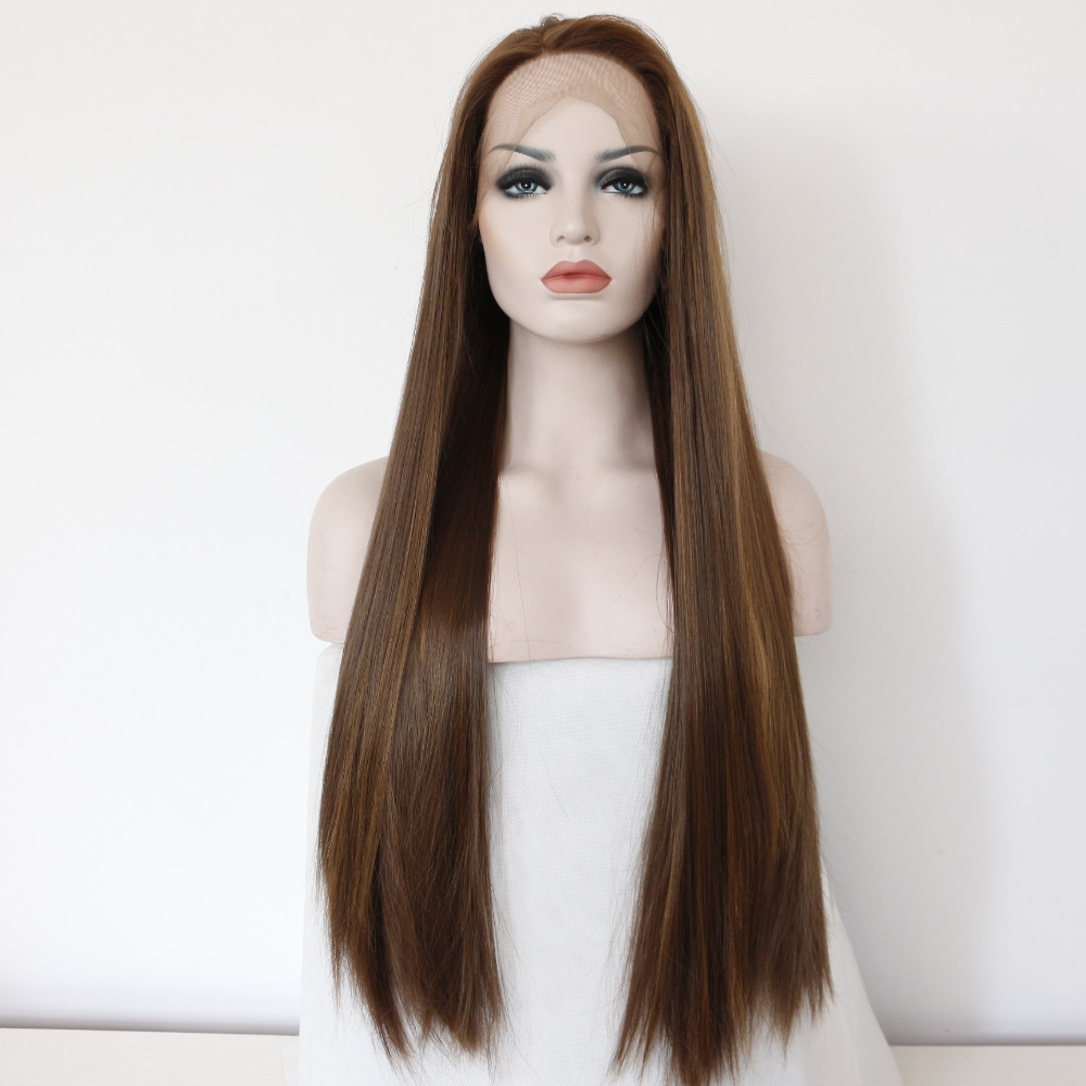 Natural Straight Glueless Brown Synthetic Lace Front Wig