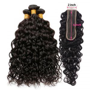 Natural Wave Weave With 2x6 Inch Middle Part Lace Closure Virgin Human Hair