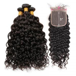 Natural Wave Weave With 5*5 Inch Lace Closure Virgin Human Hairstyles