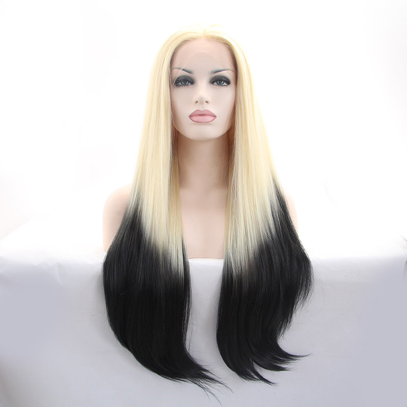 New Arrival Straight Blonde To Black Ombre Synthetic Lace Front Wig