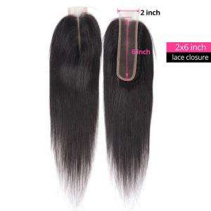 New Arrival Straight Hair 2x6 Size Lace Closure With Baby Hair Remy Human Hair
