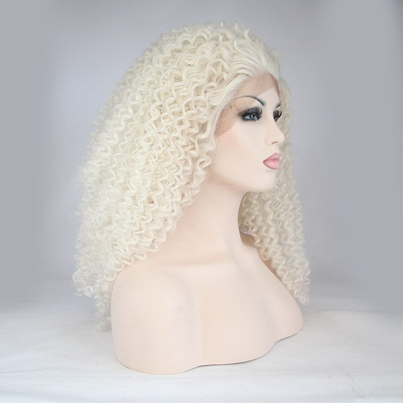 New Arrival White Loose Curly Synthetic Lace Front Wigs 1