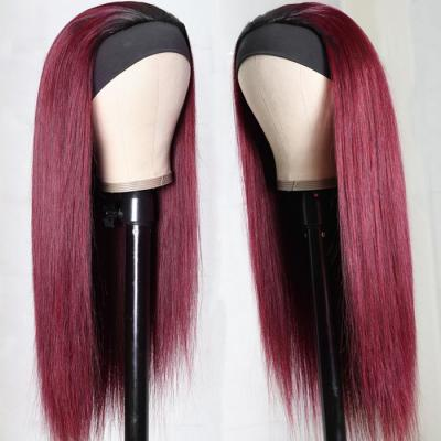 Ombre #99J Burgundy Headband Wigs with Black Root