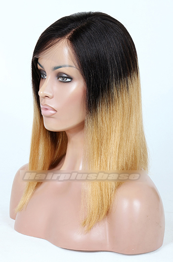 Indian Remy Hair Ombre Blonde Left Part Bob Yaki Straight Glueless Lace Part Wigs