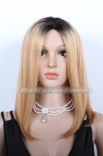 14 Inch Ombre Blonde Long Bob Chinese Virgin Hair Lace Front Wigs {Custom Wig Production Time 15-20 working days}