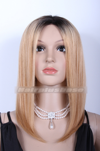 Chinese Virgin Hair Ombre Blonde Long Bob Lace Front Wigs