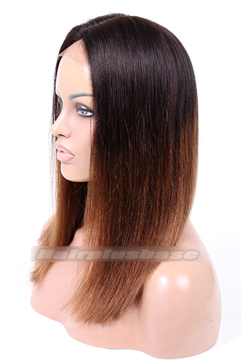 Indian Remy Hair Ombre Brown Middle Part Thick Bob Yaki Straight Glueless Lace Part Wigs