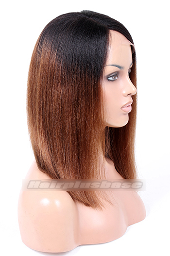 Indian Remy Hair Ombre Brown Side Part Thick Bob Coarse Yaki Glueless Lace Part Wigs