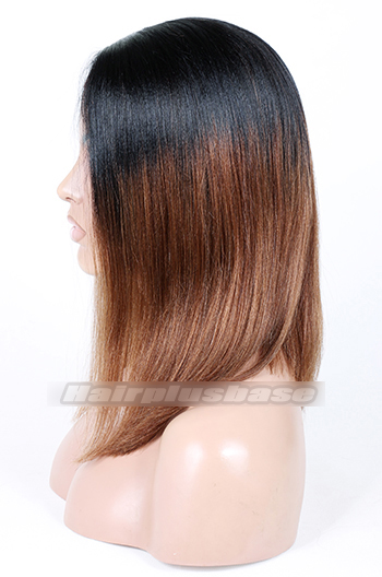 Indian Remy Hair Ombre Brown Side Part Bob Yaki Straight Glueless Lace Part Lace Wigs