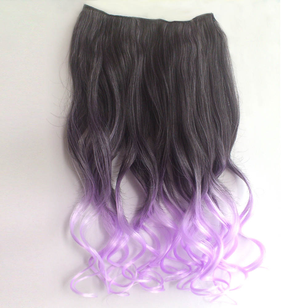 Ombre Colorful Clip in Hair Wavy 17# Black/Purple 1 Piece