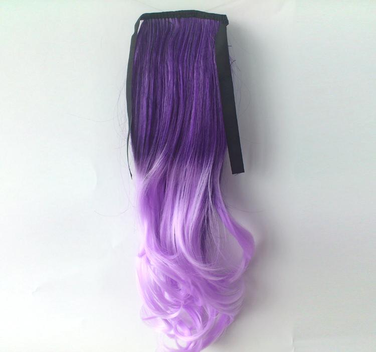 Ombre Colorful Ponytail Wavy 06# Deep purple/Light Purple 1 Piece