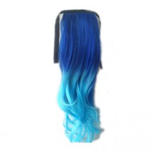 Ombre Colorful Ponytail Wavy 10# Deep Blue/Light Blue 1 Piece