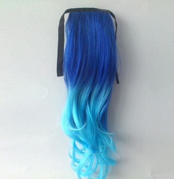 Ombre Colorful Ponytail Wavy 10# Deep Blue/Light Blue 1 Piece