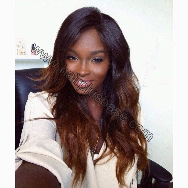 Ombre Glueless Lace Front Wigs Peruvian Virgin Hair Natural Color To #30