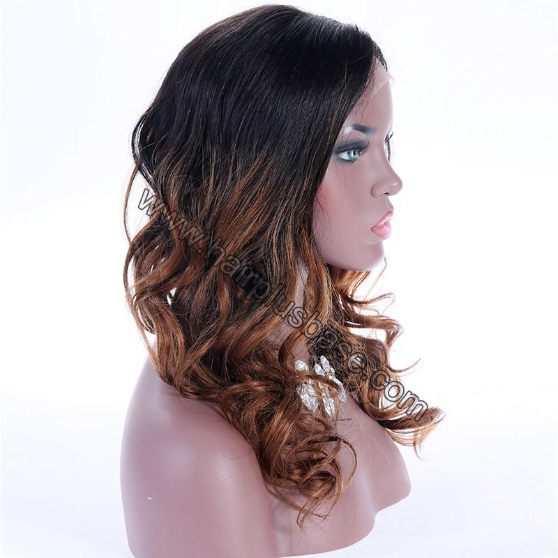 Ombre Glueless Lace Front Wigs Peruvian Virgin Hair Natural Color To #30 5