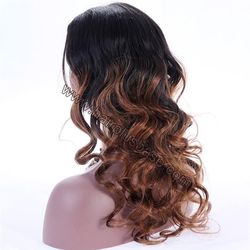 Ombre Glueless Lace Front Wigs Peruvian Virgin Hair Natural Color To #30 6
